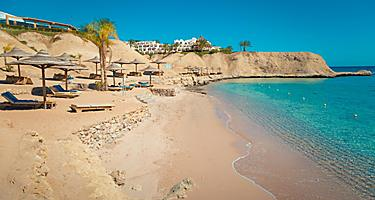 Beach on the shore of the Red Sea in Aqaba, Jordan