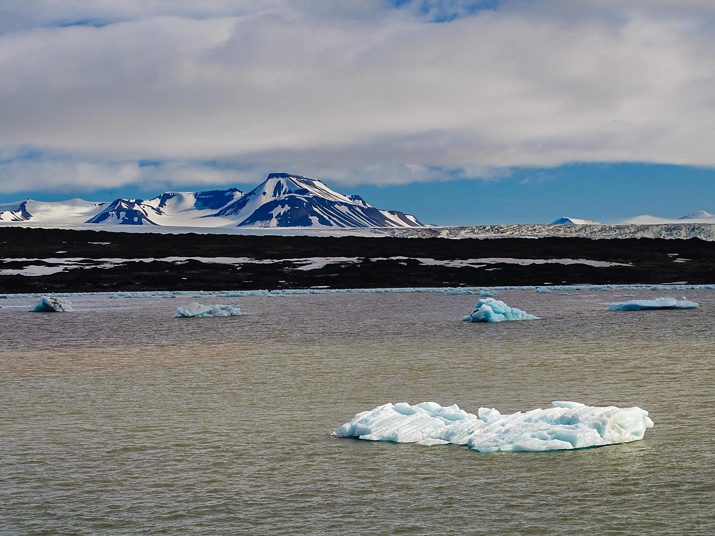 Arctic Circle Ice Floating In Sea