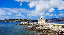 Fanari lighthouse on a sunny day in Argostoli, Greece