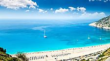 Aerial view of Myrtos beach on a sunny day in Argostoli, Greece