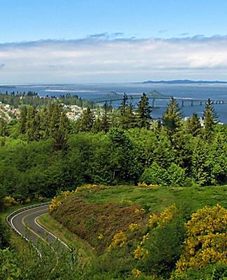 View of the lush landscape surrounding Astoria, Oregon and the Columbia River