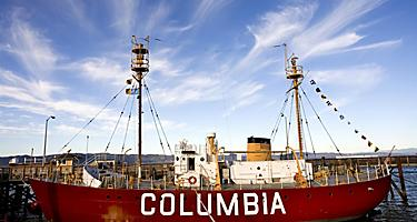 The retired Coast Guardf lightship Columbia in Astoria, Oregon