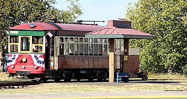 Trolley on railroad iin Astoria, Oregon
