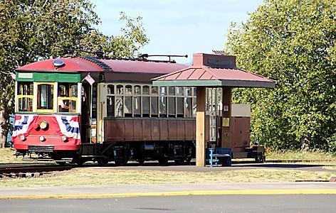 Trolley on railroad iin Astoria, Oregon