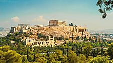View of the Parthenon atop the Acropolis in Athens, Greece