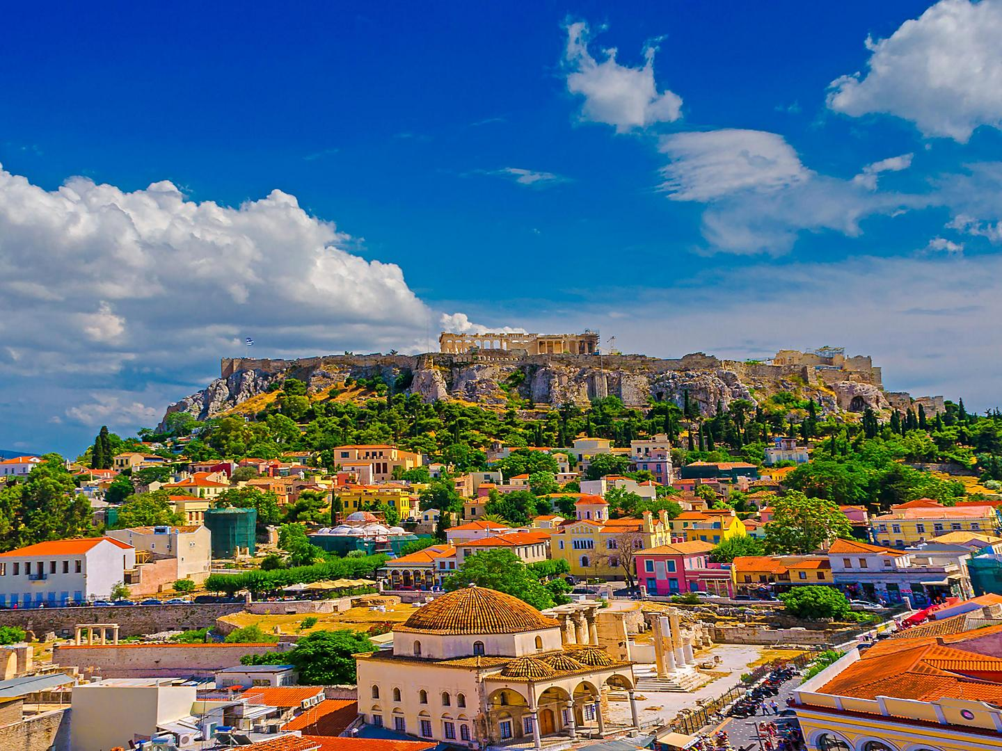 Athens (Piraeus), Greece, View of city and Acropolis