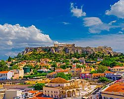 View of Athens with the Acropolis in the background