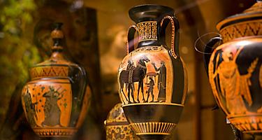 Various decorative Greek vases