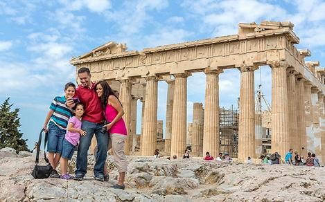 Greece Athens Family Selfie with Greek Temple in the Background