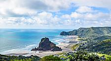 View of Piha Beach in New Zealand