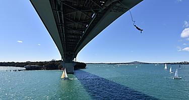 A person bungy jumping from the Harbour Bridge