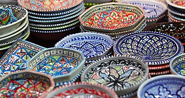 Colorful dishes in a market in Bahrain