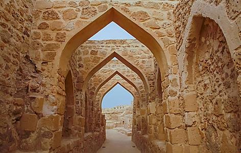 Beautiful archway in Bahrain Fort in the Kingdom of Bahrain