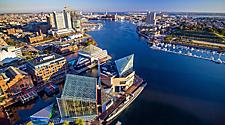 Aerial view of Downtown Inner Harbor area in Baltimore, Maryland