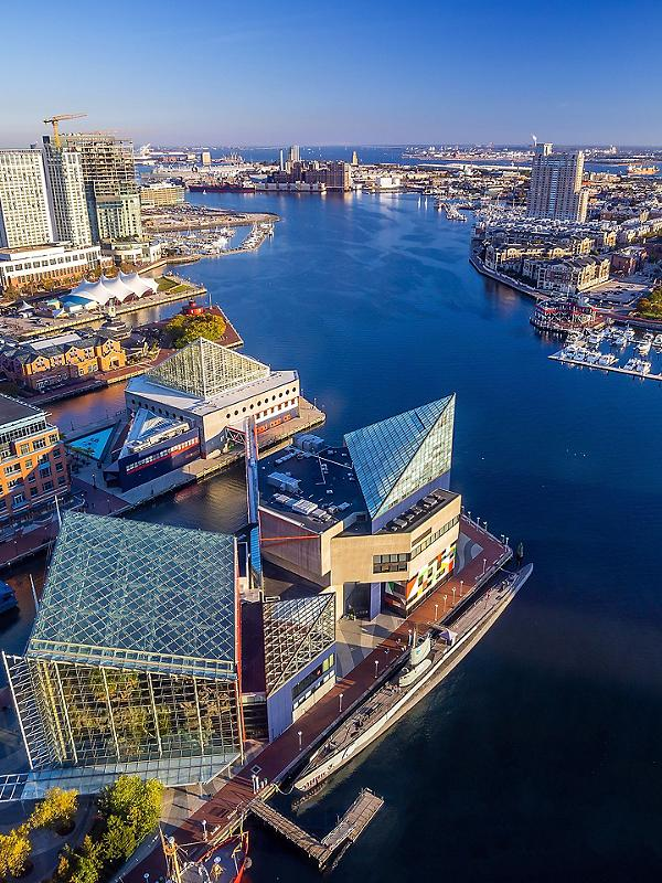 Baltimore, Maryland, Aerial View Downtown Inner Harbor