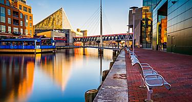 Waterfront promenade near the National Aquarium in Baltimore, Mayland