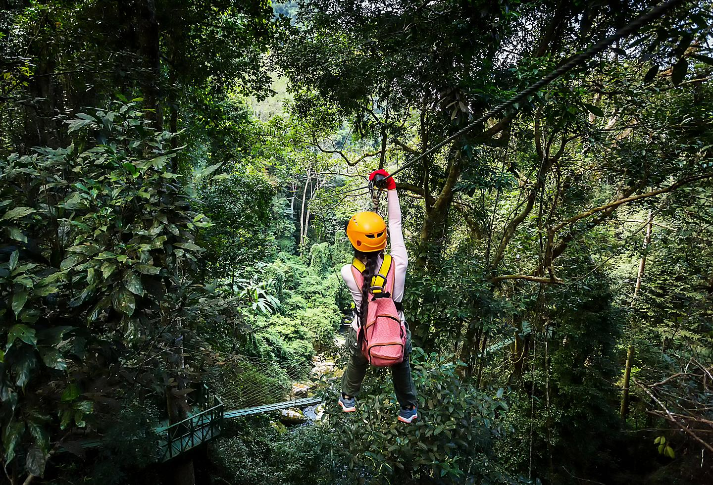 Girl ziplining in the jungle