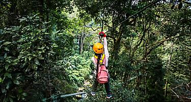 banana coast honduras woman jungle zipline