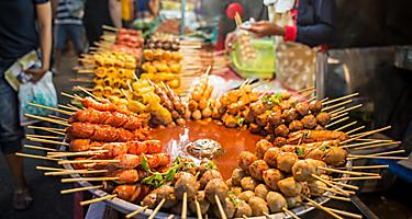Fried food with sticks, Thai style food, Thailand street foodl, Bangkok