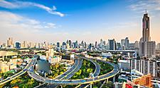 The busy cityscape of Bangkok city of Thailand