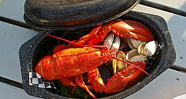 A Maine lobster dinner platter