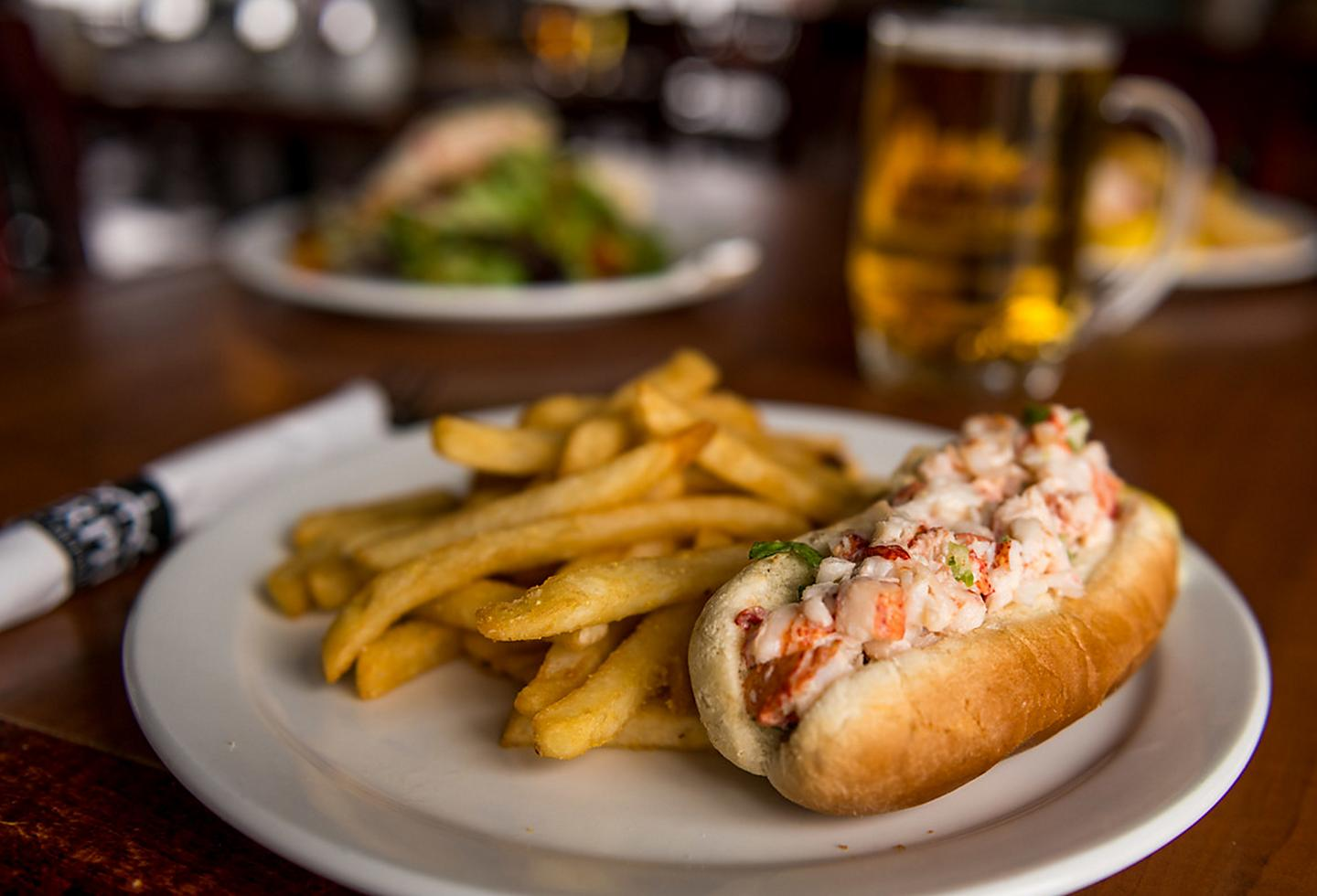 New England Lobster Roll  with Fries and a Beer
