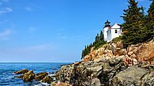 a lighthouse on the coast of Bar Harbor, Maine
