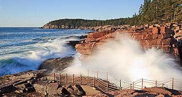 Waves crashing on the coast in Bar Harbor, Maine
