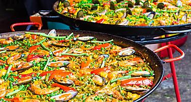 Traditional Spanish rice-based gourmet dish Paella, in Barcelona, Spain