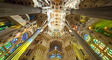La Sagrada Familia Interior Colorful