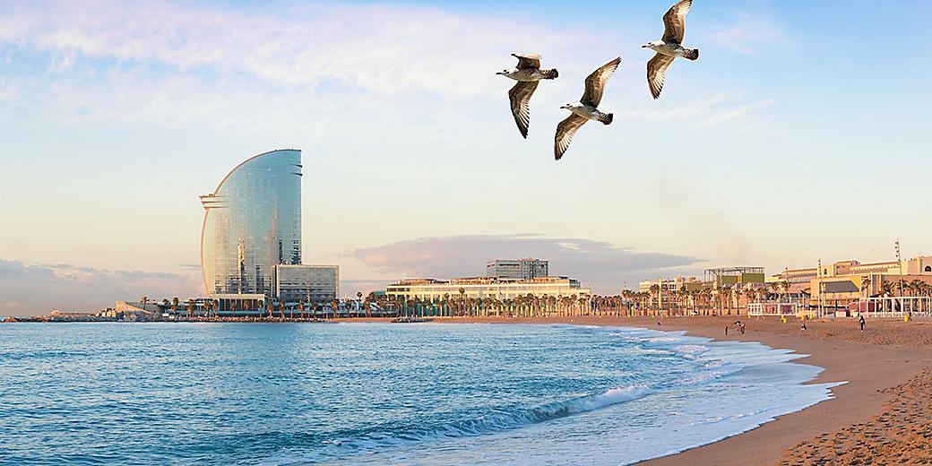 Spain Barcelona Barceloneta Beach City View