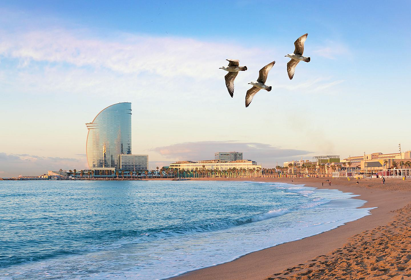 Spain Barcelona Barceloneta Beach City View
