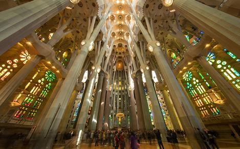 Spain Barcelona Sagrada Familia Cathedral Interior