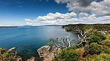 View of the ocean and landscape near Paihia Bay Islands in New Zealand