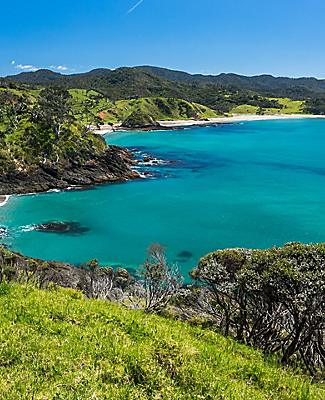 View of the nature's landscape along the coast of the Pacific ocean in Bay of Islands, New Zealand