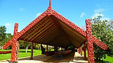 Traditional Maori canoe house at Waitangi Treaty Grounds, New Zealand