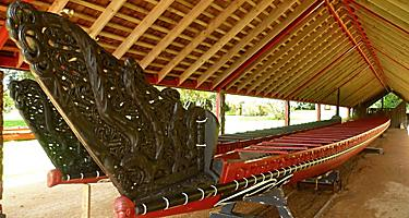 Close up of a maori canoe at Waitangi Treaty Grounds in New Zealand