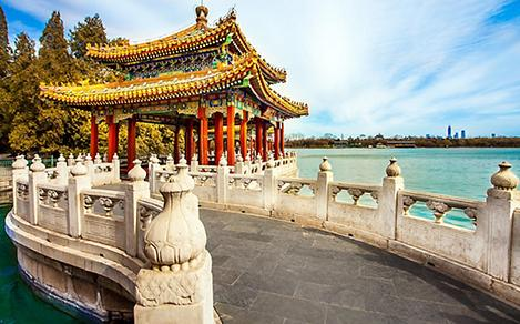 A traditional Chinese building at Beihai Park in Beijing, China