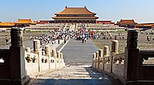 Tourists fill the grounds of the Taihedian Square in the Forbidden City in Beijing