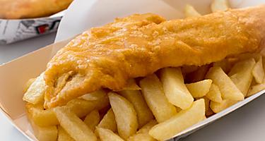 a tray of fish and chips