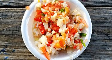 A bowl of conch ceviche in Belize