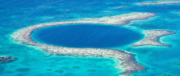 Aerial shot of Belize's Great Blue Hole