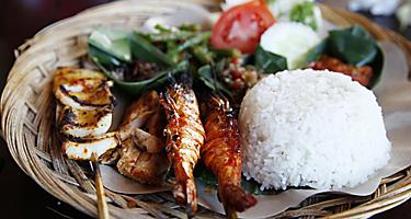 Traditional Seafood Satay and Rice in Bali, Indonesia