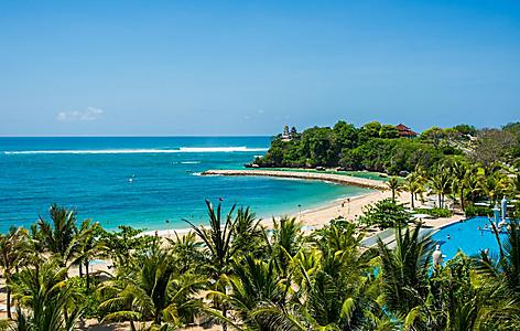 View of the Nusa Dua Beach on a sunny day in Bali, Indonesia