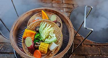 Steamed vegetables in Beppu, Japan