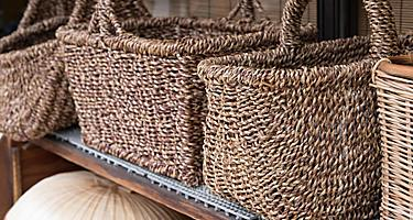 Baskets made out of bamboo sold in markets in Beppu, Japan