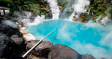 Umi Jigoku (Sea Hell) is one of the tourist attractions featuring a pond of boiling blue water
