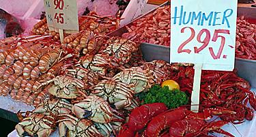 An assortment of seafood for sale at a fish market in Bergen, Norway
