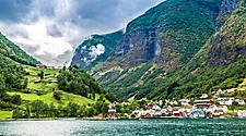 Coastal city of Bergen, Norway surrounded by lush mountains