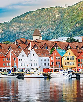 Colorful waterfront homes in Bergen, Norway